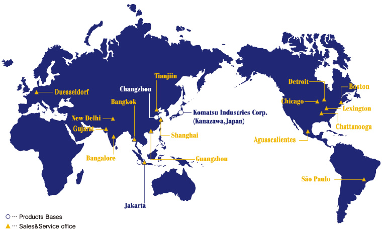 Global operations profile komatsu industries corp map and list of global sales and service offices gumiabroncs Choice Image